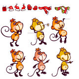 Set monkey. Set  chinese zodiac postcard 2016 with the characters monkey. You can add as isolated icon Royalty Free Stock Photography