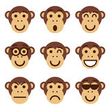 Set of monkey emoticons. Funny monkey show different emotions. Royalty Free Stock Photos