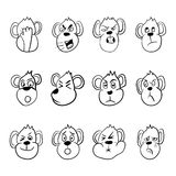 Set of monkey emoticons. Funny monkey show different emotions. Vector illustration. Eps10 Stock Photos