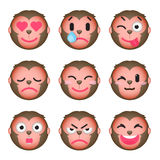 Set of monkey emoticons. Set of Emoji. Isolated vector illustration on white background Royalty Free Stock Image