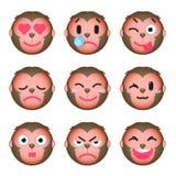 Set of monkey emoticons. Set of Emoji. Isolated vector illustration on white background Royalty Free Stock Image