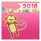 Set monkey new year 2016 joyful pink brown Stock Photography