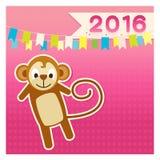 Set monkey new year 2016 joyful pink brown Stock Photography