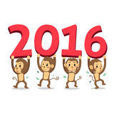 Set of monkeys happy new year 2016. For design Stock Images