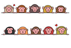 Set of monkeys in a row with copy space Stock Images