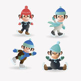 Set monkeys on skates Royalty Free Stock Images
