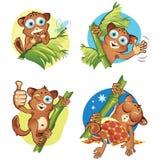 A set 2 of monkeys tarsiers Stock Image