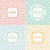 Set of mono line geometric seamless cube pattern. With square, cube. Vintage frames in red, green, blue, gold. Vector background. Texture for greeting cards Stock Photo