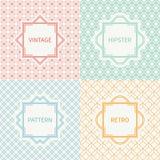 Set of mono line geometric seamless cube pattern Stock Photo