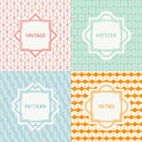 Set of mono line geometric seamless cube pattern. With square, cube. Vintage frames in red, green, blue, gold. Vector background. Texture for greeting cards Royalty Free Stock Image