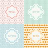 Set of mono line geometric seamless cube pattern Royalty Free Stock Image