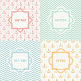 Set of mono line marine geometric seamless pattern. With anchor. Vintage frames in red, green, blue, gold. Wrapping paper. Background. Texture for greeting Stock Image