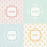 Set of mono line marine geometric seamless pattern Stock Image