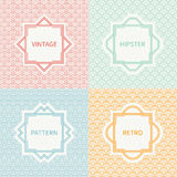 Set of mono line polygon hipster seamless pattern. Vintage frames in red, green, blue, gold. Wrapping paper. Vector background. Texture for greeting cards Stock Photography