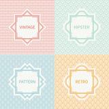Set of mono line polygon hipster seamless pattern Stock Photography