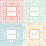 Set of mono line polygon hipster seamless pattern Stock Image