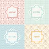 Set of mono line polygon hipster seamless pattern Stock Image