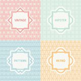 Set of mono line polygon hipster seamless pattern. Vintage frames in red, green, blue, gold. Wrapping paper. Vector background. Texture for greeting cards Royalty Free Stock Image