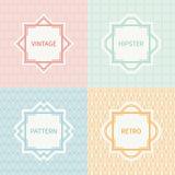 Set of mono line polygon hipster seamless pattern Royalty Free Stock Image