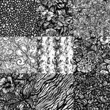 The set  monochromatic abstract zentangle seamless Royalty Free Stock Photos