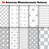 Set of monochromatic American seamless patterns Royalty Free Stock Photo