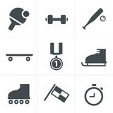 Set of monochromatic simple sports icons Royalty Free Stock Images