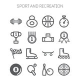 Set of monochromatic simple sports icons Stock Image