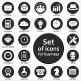 Set monochromatyczne ikony dla biznesu w wektorze Zdjęcia Stock