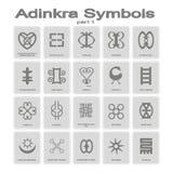 Set monochromatyczne ikony z adinkra symbolami royalty ilustracja
