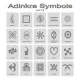 Set monochromatyczne ikony z adinkra symbolami ilustracji