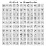Set monochromatyczne ikony z adinkra symbolami obraz royalty free