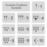 Set monochromatyczne ikony z sumerian cuneiform liczebnikami zdjęcie stock