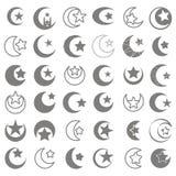 Set monochromatyczne ikony z symbolem islam półksiężyc księżyc z gwiazdą ilustracja wektor