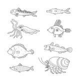 Set monochromatyczne wektorowe doodle ryba i denni mieszkanowie odizolowywający na białym tle royalty ilustracja