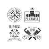 Set monochromatyczni logowie dla naprawiać firmy z pracującymi narzędziami i tekstem Wektorowy domowy i Zdjęcie Stock