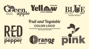 Set monochromatyczni logowie na temacie owoc i warzywo Dla jarzynowych sklepów, jarskich restauracj i kawiarni, dostawa Zdjęcie Royalty Free