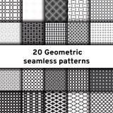 Set 20 monochromatycznych bezszwowych wzorów royalty ilustracja