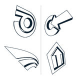 Set of monochrome abstract symbols, arrows. Business growth conc Stock Photo