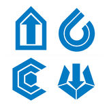 Set of monochrome abstract symbols, arrows. Business growth conc Royalty Free Stock Image