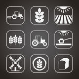 Set of monochrome agricultural icons Stock Photos