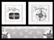 Set monochrome backgrounds and banners for Valentines day decorated hearts and Boxes with bows. Vector. Illustration royalty free illustration