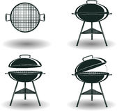 Set of Monochrome BBQ grill signs Royalty Free Stock Photos