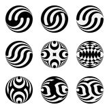 Set of monochrome black and white design elements for the Logo on the basis of circles and Celtic grid. Stock Photos