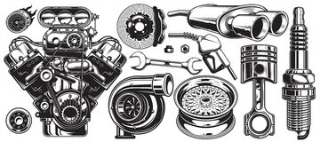 Set of monochrome car repair service elements. On white background royalty free illustration