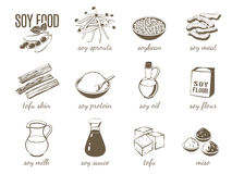 Set of monochrome cartoon soy food illustrations - soy milk, soy sauce, soy meat, tofu, miso and so on. Vector illustration. On transparent background, eps 10 Royalty Free Stock Photo
