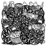 Set of Monochrome Christmas toys. Hand-drawn decorative elements in vector. Fancy Christmas trees, balls, stars. Pattern for coloring book. Sketch by trace Stock Photography