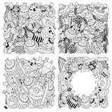 Set of Monochrome Christmas toys. Hand-drawn decorative elements in vector. Fancy Christmas trees, balls, stars. Pattern for coloring book. Sketch by trace Royalty Free Stock Photo
