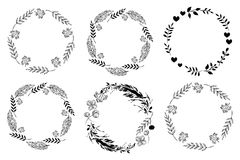 Set of monochrome circle frames. Doodle leaf, flowers and berry wreaths. Ready templates for design, postcards, printing. royalty free illustration