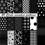 Set of 20 Monochrome circle seamless patterns Royalty Free Stock Photo