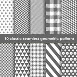 Set of 10 monochrome classic seamless geometric patterns. May be used as background, backdrop stock illustration